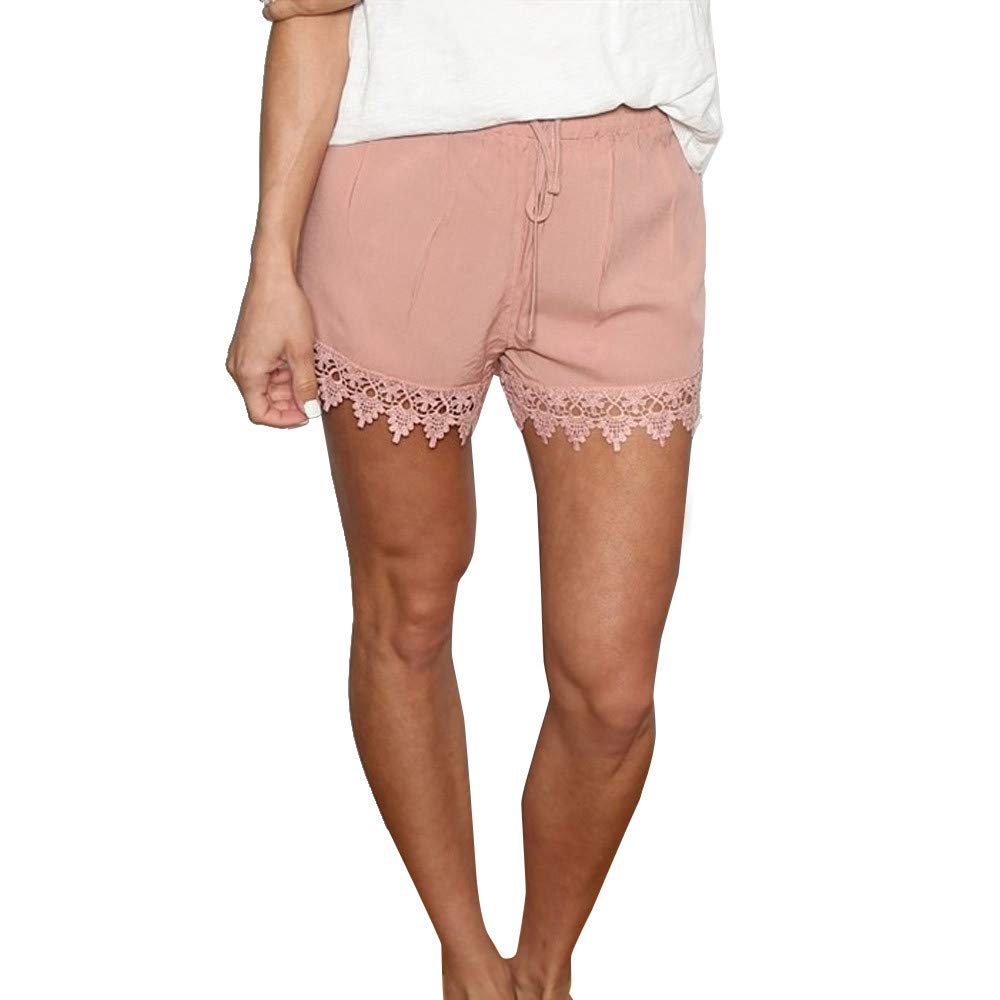 wodceeke Women Solid Color Shorts, Summer Casual Loose Drawstring Pure Lace Spliced Shorts Pants (L, Pink)