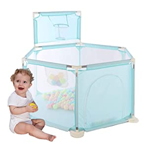 Arkmiido Baby Playpen,Kids Playpen with Basketball Hoop, Activity Sport Center Play Yard Indoor & Outdoor, Hexagonal Portable Foldable with Breathable Mesh for Toddler Infant (Aqua)
