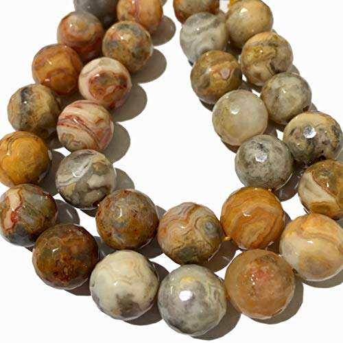 ([ABCgems] Mexican Crazy Lace Agate- Beautiful Matrix (4 Strands Lot) 12mm, 10mm, 8mm, 6mm Faceted Round Beads. Each Strand 8