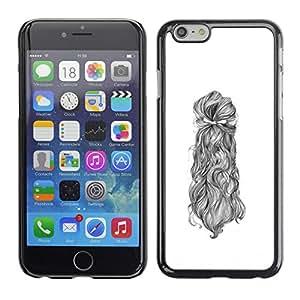 Planetar® ( Hair Portrait Woman Sketch White Black ) Apple iPhone 6 Plus(5.5 inches)Fundas Cover Cubre Hard Case Cover
