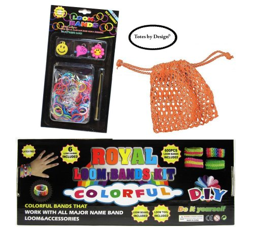 Tote Go Loom (totes Complete Rainbow 900 Color Rubber Loom Bands Friendship Bracelet Making Kit with Extra Refill and Trendy Mesh Bag Bundle)
