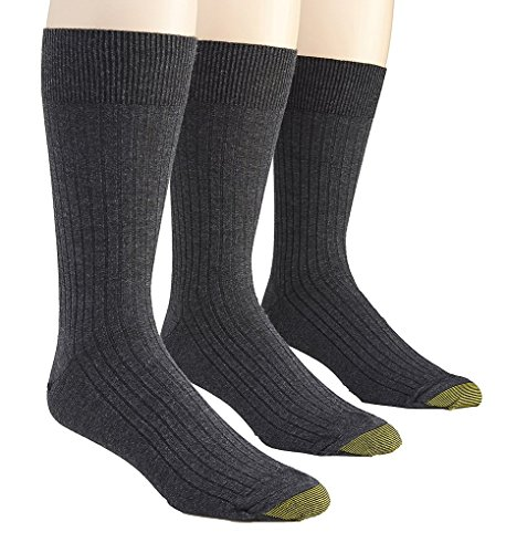Gold Toe Men's Classic Canterbury Crew Socks (Pack of 3), Shoe Size: 6-12.5