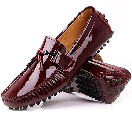 989f11c4a3e Fulinken NEW Patent Leather Men Tassel Slip on Loafers Casual Shoes Diving  Shoes Dress Shoe (6