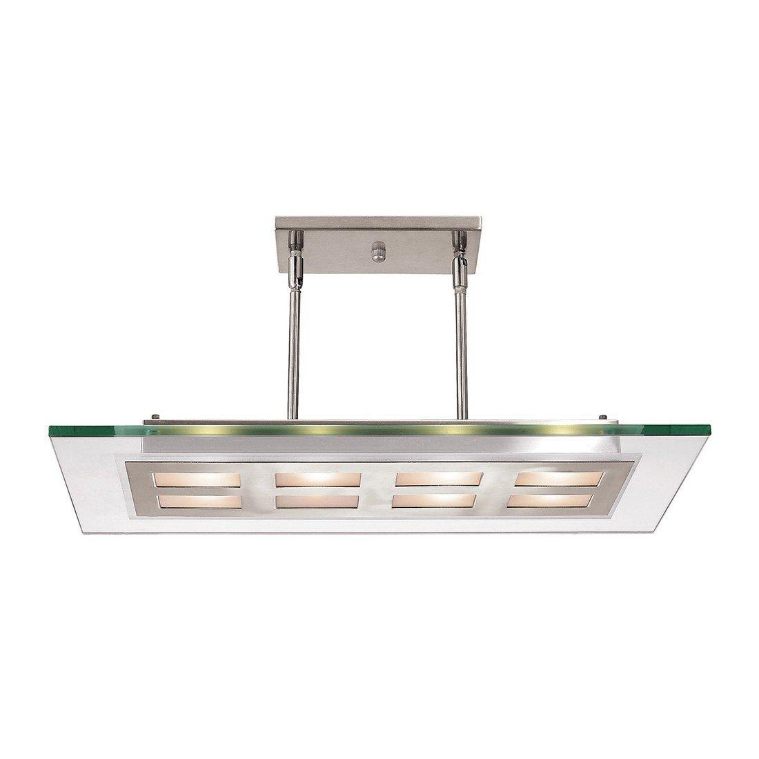 Aquarius - Eight Light 24''w Pendant - Brushed Steel Finish - Clear Glass Shade