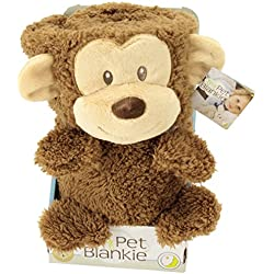 """My Pet Blankie Original Ultra Soft 3-in-1-Blanket, Pillow, Plush Toy, Brown Monkey, 26"""" L x 39"""" W, Machine Washable, For Children Ages 2+"""