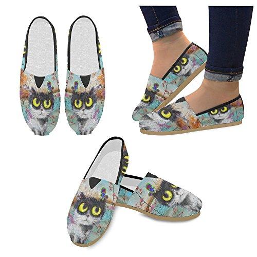 D-histoire Mode Baskets Appartements Moto Et Usa Drapeau Femmes Classique Slip-on Chaussures Chaussures Mocassins Chat