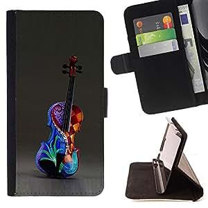 PAINTED ART MUSIC VIOLIN COLORFUL/ Personalizada del estilo del dise???¡Ào de la PU Caso de encargo del cuero del tir????n del soporte d - Cao - For HTC One M9