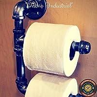 Dispensador de papel higiénico retro industrial vintage elaborado en tubería de hierro al carbono de 1/2 pulgada.
