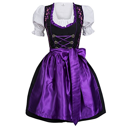 Gaudi-leathers Women's Set-3 Dirndl Pieces Embroidery 40 Purple/Black (German Ladies Traditional Dress)