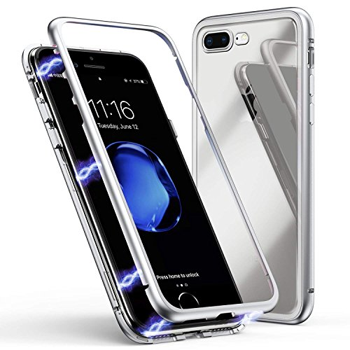 (KONKY iPhone XR Case Ultra Slim Fit Metal Frame, Magnetic Adsorption Case, Clear Back, 360 Degree Protection, Support Wireless Charging, with Screen Protector for iPhone XR (White))