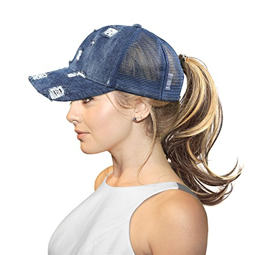 FADA Ponytail Baseball Hats for Women - Messy Buns Trucker Ponycaps Plain Denim Blue Visor Dad Cap - Cotton Denim Visor