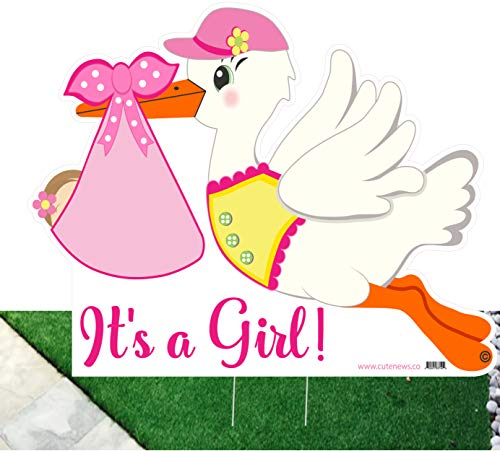 Cute News It's a Girl Stork Yard Outdoor Sign - New Baby Birth Lawn Announcement - Pink Shower Party Decoration (Stork Announcement Birth Girl)