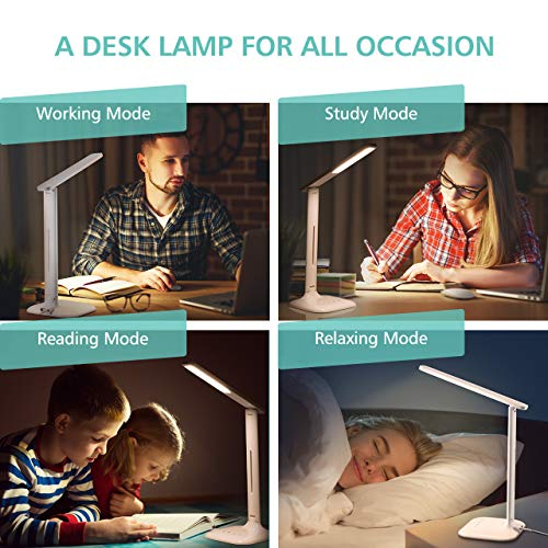 LED Desk Lamp, Eye-caring Table Lamp, Desk Light with 5 Brightness Levels and 5 Color Mode,USB Charging Port, Sensitive Control, 10W Power for Reading, Working, Painting, Sleeping in Home, Office