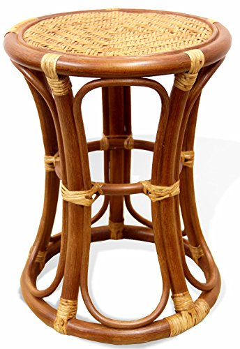 Natural Rattan Wicker Stool Breeze Plant Stand Handmade Design ECO, Cognac - Rattan Round Bar Stool