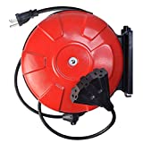 Southwire 48006SW Retractable Cord Reel with 30-Foot 14/3 Black Extension Cord, 3 Grounded Outlets, Red