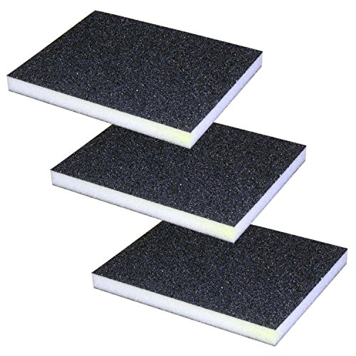 Arology 3 PCS Sanding Sponge Block Pad, Mix Grit includes 1 Fine, 1 Medium, 1 Coarse, Great for Kitchen, Drywall, Metal, Wood, Painted surface and Fiberglass, Use of Hand Sanding and Finishing