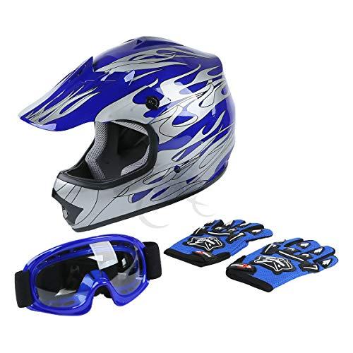 TCT-MT DOT Helmet Motocross+Goggles+Gloves Youth Kids Helmet Blue Flame Dirt Bike ATV Helmets Large (Dirt Bike Helmets Youth)