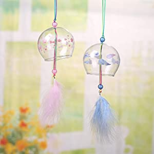 Falytemow Japanese Feather Wind Chimes Romantic Cherry Small Wind Bells Handmade Glass Japanese Style Pendant for Birthday Gift Home Decors Pink and Blue Set of 2