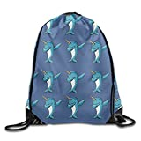Funny Narwhal Dab Unisex Drawstring Backpack Travel Sports Bag Drawstring Beam Port Backpack.