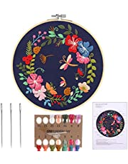 MWOOT Embroidery Starter Kit with Garland Pattern, DIY Cross Stitch Stamped Embroidery Handmade Sewing Craft Kit for Adults Beginner