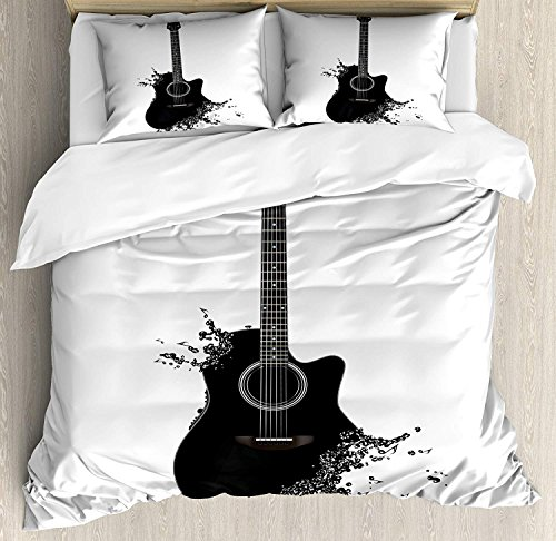 Guitar Bedding Sets, Monochrome Musical Instrument with Strings Acoustic Color Splashes Creative Outlet, 4 Piece Duvet Cover Set Bedspread for Childrens/Kids/Teens/Adults, Black White,Queen Size