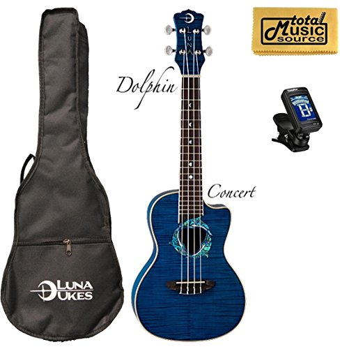(Luna Fauna Series Dolphin Quilted Maple Concert UkE w/Tuner &PC )