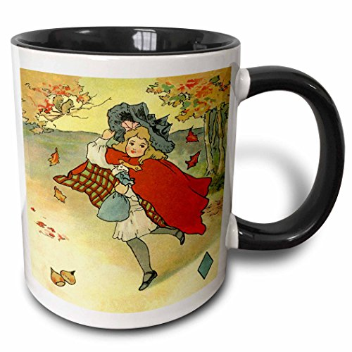 3dRose Florene - Autumn and Fall - Print of Vintage Little Girl In Coat With Leaves Falling - 15oz Two-Tone Black Mug (mug_194758_9)