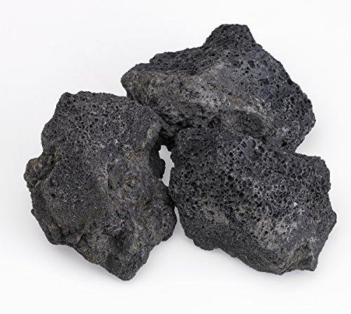 Cheap American Fireglass Black Lava Rock (LAVA-XXL-10), 4-Inch to 6-Inch Pieces, 10 Pounds