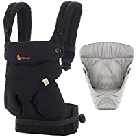 Ergobaby Bundle - 2 Items: Pure Black Four Position 360 Baby Carrier and Easy...