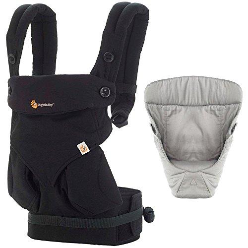 Ergobaby Bundle - 2 Items: Pure Black Four Position 360 Baby Carrier and Easy Snug Infant Insert Grey by Ergobaby