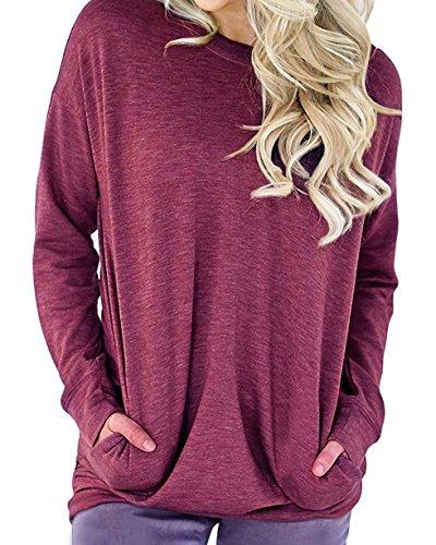 (lymanchi Women Round Neck Sweatshirts Long Sleeve Lightweight Loose T Shirt Tops Fuchsia Rose)