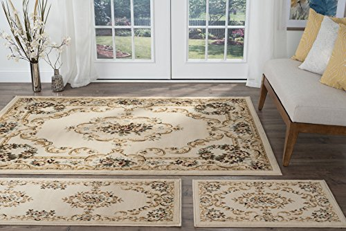 Angeline Traditional Floral Beige 3-Piece Area Rug Set, 3-Piece Set
