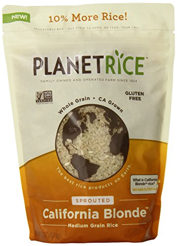 Planet Rice Sprouted Blonde Gaba Rice grown locally in California - gluten free and non-GMO, 22 Ounce (Pack of 6)
