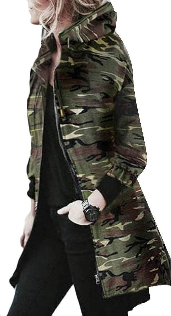 Cromoncent Womens Autumn Casual Camo Zipper Hooded Casual Jacket Coat