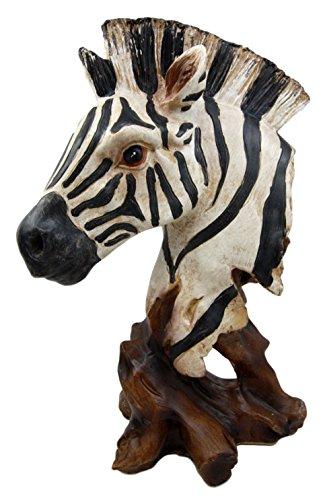 Ebros Safari African Savanna Zebra Horse Wildlife Bust Statue As Zoo Zebras Horses Stallions Decorative Figurine in Faux Wood Finish 11.5