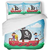 SanChic Duvet Cover Set Kids Pirate Ship Boy and Girl Captain at Decorative Bedding Set with Pillow Sham Twin Size
