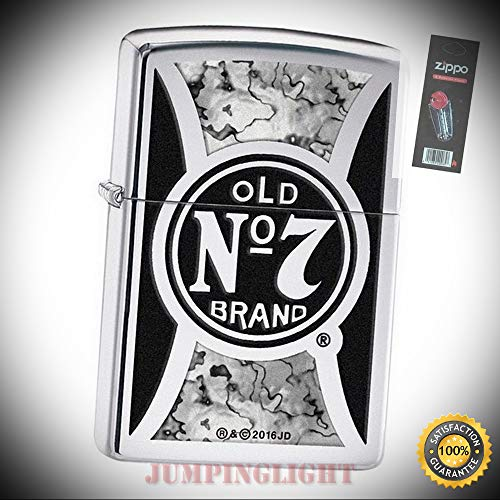 29233 Jack Daniel's High Polish Chrome Fusion Finish Lighter with Flint Pack - Premium Lighter Fluid (Comes Unfilled) - Made in - Jack And Cola Daniels