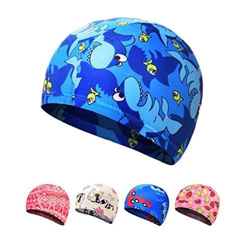 Ewanda store Solid Color Lycra Swim Caps Swimming Cap Swimming Hat Bath Caps Kids Children Boys Girls Long Hair(Blue Shark)