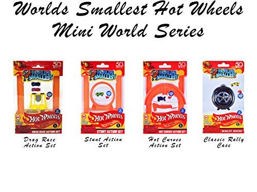 Worlds Smallest Hot Wheels Mini World Complete Collection. Includes Drag Race, Hot Curves & Stunt Action Sets & Classic Rally Case. Collection Includes 5 Exclusive Hot Wheels Cars! by Worlds Smallest