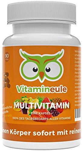 Multivitamin Kapseln hochdosiert & vegan - ohne künstliche Zusätze & für Kinder geeignet - Deutsche Qualität - kleine Kapseln statt große Tabletten - enthält jedes A - Z Vitamin - Vitamineule®