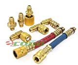 8pc A/C Manifold Gauge Adapter Set Solid Brass Durable Flexible 90 Degree R-12