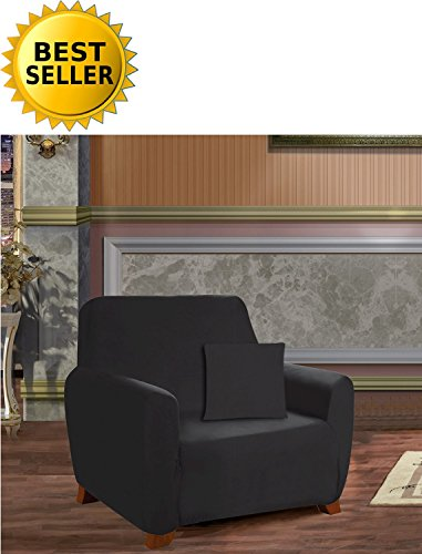 Elegance Linen Collection Luxury Soft Furniture Jersey STRETCH SLIPCOVER, Chair Black (Jersey Slipcovers Soft)