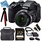 Nikon COOLPIX B500 Digital Camera (Black) + 64GB UHS-I SDXC Memory Card (Class 10) + Flexible 12 Tripod + Small Soft Carrying Case + HDMI Cable + Card Reader + DigitalAndMore Bundle