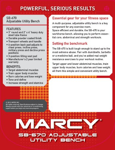 Marcy Adjustable Utility Bench - SB670
