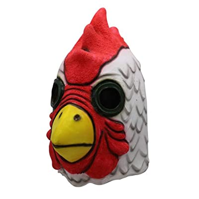 Gmasking 2020 Exclusive Latex Cartoon Rooster Head Mask Halloween Chicken Costume: Toys & Games