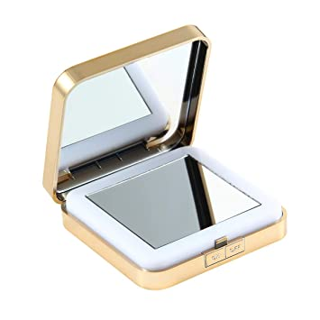 Buy Leegoal Compact Magnifying Mirror Led Lighted Travel Makeup Mirror Handheld Pocket Mirror With 1x 10x Magnification Usb Charging For Travel One Size White Online At Low Prices In India Amazon In