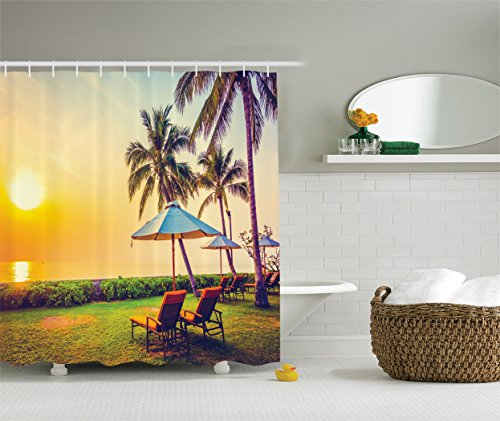 Ambesonne Seaside Decor Collection Umbrella and Chair on the Beach Palm Trees Fabric Shower Curtain (Palm Tree Bathroom Decor Ideas)