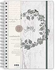 """Southworth Planner (January 2022-December 2022), 8.5"""" x 11"""", Rustic Botanical Sage, Premium 28#/105 gsm Paper, Large Twin Wire (91345)"""