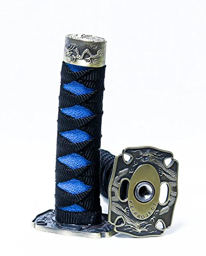 Kei Project Katana Samurai Sword Shift Knob Shifter Katana VIP Metal Weighted With Adapters Fits Most Cars (Black/Blue)