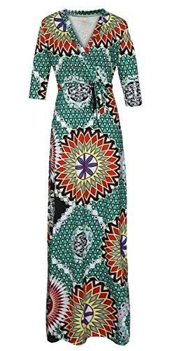 SYTX Womens Vintage Africa Print Half Sleeve V Neck Bandage Dashiki Maxi Dress 4 XL by SYTX-women clothes